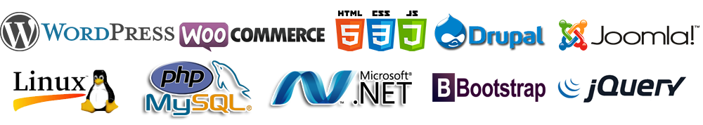 wordpress, drupal, joomla, magento, Ajax, Bootstrap, Jquery, Symfony, WooCommerce